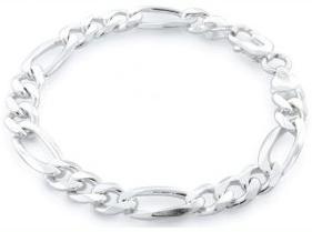 Figaro ID Bracelet Sertis 250 Gauge Sterling Silver MADE IN ITALY