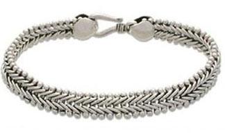 Sterling Silver Braided Herringbone Chain Bracelet